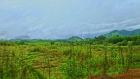 Rural landscape fields grass road barriers against cloudy sky. Road with sidewalk barriers along landscape with fields bushes grass against hills sky after rain stock video footage