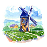 Rural landscape with fields and a mill Royalty Free Stock Image