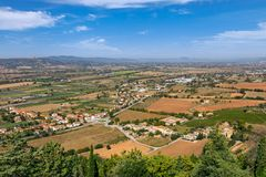 Rural landscape with fields and small towns in Umbria, Italy royalty free stock images