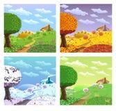 Rural landscape. Four seasons. Stock Images