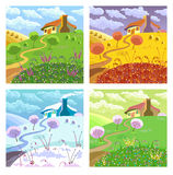 Rural landscape. Four seasons. Royalty Free Stock Photos