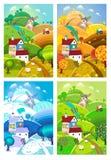 Rural landscape. Four seasons. Stock Image
