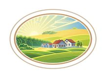 Rural landscape in frame. Rural dawn landscape with the villages houses in the frame, a graphic design element for the create of the label or trademark stock illustration