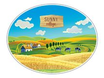 Rural landscape in the frame. A graphic design element for the create of the label or trademark Royalty Free Stock Photography