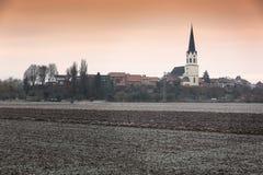Rural landscape at a frosty morning, Pfalz, Jockgrim, Germany Royalty Free Stock Photo