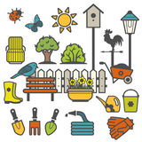 Rural landscape with gardening concept Royalty Free Stock Images