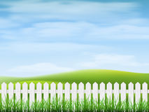 Rural landscape with  grass and fence Stock Photo