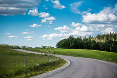 Rural landscape with green field, road and cumulus clouds. In summer Stock Photos