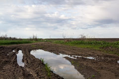 Rural landscape with green fields, soil texture and slops. Rural landscape with green fields, soil texture, slops and beautiful sky Stock Images