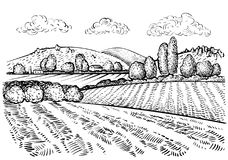 Rural landscape, handdrawn inked sketch style illustration. Hand draw illustration of outdoor natural scenic. Agricultural farm and field. Vector monochrome Stock Image
