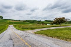 Rural Landscape of Hartford County Farmland in Northern Maryland.  Royalty Free Stock Photo