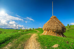 Rural landscape with hay bale,Transylvania,Romania,Europe Royalty Free Stock Images