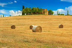 Rural landscape and hay bale in Tuscany,Italy,Europe Stock Images