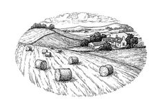Rural landscape with hay bales. Stock Photos