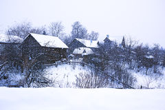 Rural landscape and heavy snow Stock Images