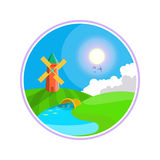 Rural landscape. Hills, clouds on the sky, windmill near the river. Windmill illustration icon.  Royalty Free Stock Images