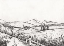 Rural landscape with hills, in the graphic style, illustration is hand-drawn. Illustration for your application , project Stock Image