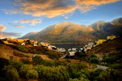 Rural landscape with hills and sea panorama Royalty Free Stock Photo