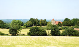 Rural landscape with historic church in Kent, England Royalty Free Stock Image