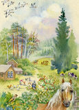 Rural landscape with a horse. Beautiful watercolor Royalty Free Stock Photography