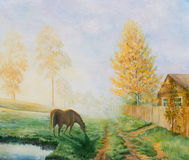 Rural landscape with a horse. Oil painting on canvas Stock Photo
