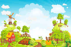Rural landscape with houses, gardens, a mill, a field, and high hills vector. Illustration Stock Photography