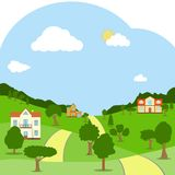A rural landscape with houses, green hills, trees and road. stock illustration