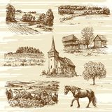 Rural landscape and houses. Rural landscape and houses - hand drawn collection Stock Photography