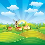Rural landscape with houses and summer fields. Rural landscape with houses, mill, summer fields and hills Royalty Free Stock Photo