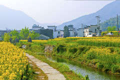 Rural landscape and houses in Wuyuan, China. Royalty Free Stock Photos
