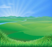 Rural landscape illustration royalty free illustration
