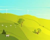 Rural landscape illustration stock illustration