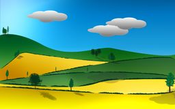 Rural Landscape Illustration. Sunny rural landscape of patchwork fields and hills Royalty Free Stock Image