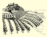 Rural landscape ink pen picture - vector Royalty Free Stock Photos