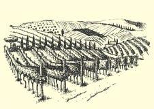Rural landscape ink pen picture - vector Stock Images