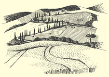 Rural landscape ink pen picture -  Royalty Free Stock Photo