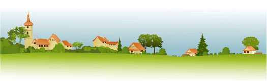 Rural landscape with little town Stock Photo