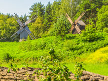 Rural landscape with meadow and windmill Royalty Free Stock Images