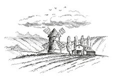 Rural landscape with mill and farm. Version. Vector illustration for your projects royalty free illustration