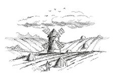 Rural landscape with a mill. Version. Vector illustration for your projects stock illustration