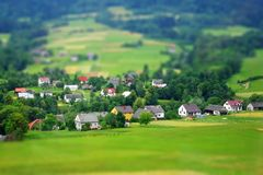 Rural landscape. Miniature (tilt-shift) simulation. Stock Photography