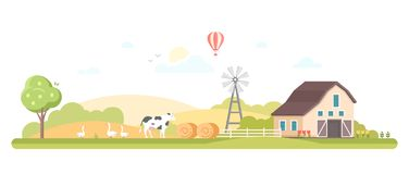 Rural landscape - modern flat design style vector illustration. On white background. A composition with a barn, windmill, farm animals, haystacks. High quality Royalty Free Stock Photos