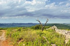 Rural landscape with mountain view near town Ares in Spain. Royalty Free Stock Image