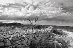 Rural landscape with mountain view near town Ares in Spain. Royalty Free Stock Photography