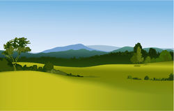 Rural landscape with mountains Stock Photo