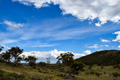 Rural landscape with mountains and overcast blue sky. Rural landscape - paddock in foreground with mountains in the distance and an overcast, blue sky Royalty Free Stock Image