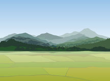 Rural landscape with mountains. Vector countryside view Royalty Free Stock Photos