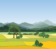 Rural landscape with mountains. Vector countryside view with for Royalty Free Stock Photos