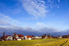 Rural landscape in Munich with new settlement Stock Photography