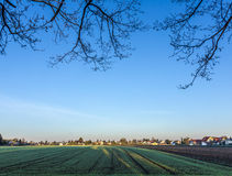 Rural landscape in Munich with new settlement Royalty Free Stock Image